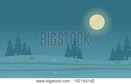 Vector flat of hill and spruce silhouettes landscape