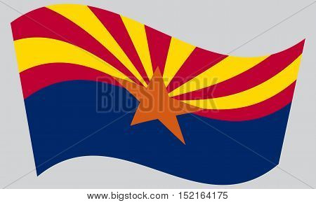 Arizonian official flag symbol. American patriotic element. USA banner. United States of America background. Flag of the US state of Arizona waving on gray background vector