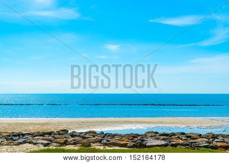 Sea view from tropical beach with Bright sky.