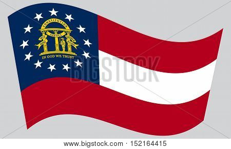 Georgian official flag symbol. American patriotic element. USA banner. United States of America background. Flag of the US state of Georgia waving on gray background vector
