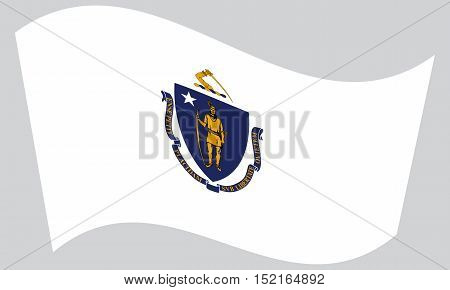Massachusettsan official flag symbol. American patriotic element. USA banner. United States of America background. Flag of the US state of Massachusetts waving on gray background vector