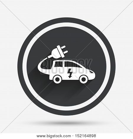 Electric car sign icon. Hatchback symbol. Electric vehicle transport. Circle flat button with shadow and border. Vector