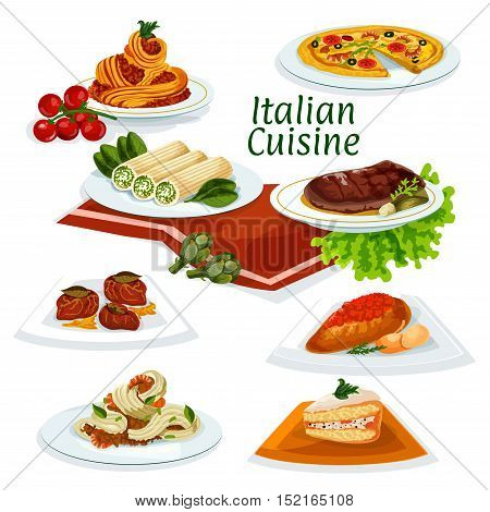 Italian cuisine seafood pizza cartoon icon with pasta and spaghetti with shrimps and bacon, florentine beef steak, chicken with tomato sauce, pasta stuffed feta, fruit cake, beef chop