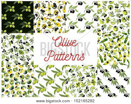 Olive fruits seamless patterns with set of vegetable background with olive tree branches, black and green fruits with drops of healthy olive oil
