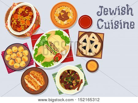 Jewish cuisine kosher dinner with dessert icon of chickpea falafel, lamb stew with dried fruits, stuffed chicken, beef bean stew, chicken breast with almond, sweet and sour beef, poppy seed cookie