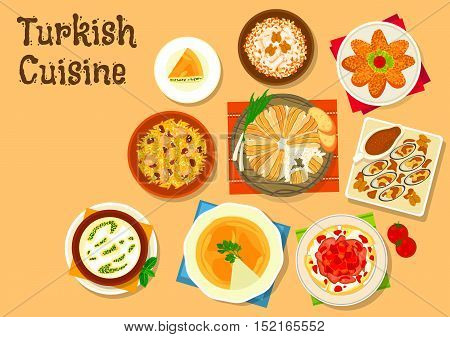 Turkish cuisine rice pilaf with anchovy and chicken icon served with iskender kebab, fish cutlet sarma, chicken with walnut, fried mussel with nut garlic sauce, cheese pie, rice mint soup