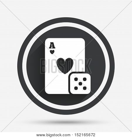 Casino sign icon. Playing card with dice symbol. Circle flat button with shadow and border. Vector