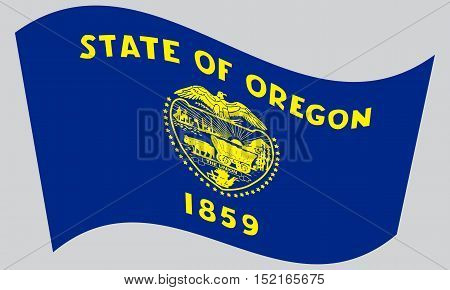 Oregonian official flag symbol. American patriotic element. USA banner. United States of America background. Flag of the US state of Oregon waving on gray background vector