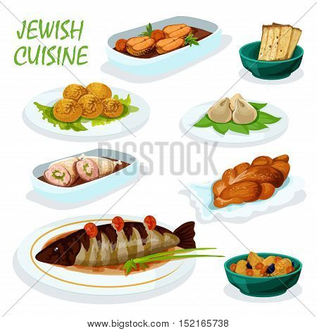 Jewish cuisine festive dinner menu icon with matzah, chickpea falafel, gefilte pike fish, stuffed chicken, sweet bread challah, meat dumpling and lamb stew with dried fruit