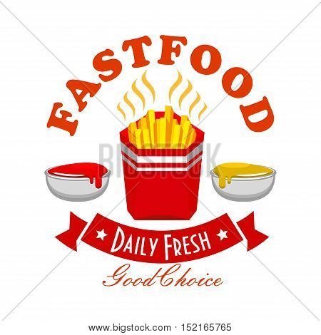French fries fast food menu symbol with takeaway red box of potato chips, flanked with ketchup and mustard sauce bowls, curved ribbon banner with stars