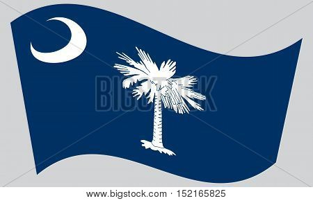 South Carolinian official flag symbol. American patriotic element. USA banner. United States of America background. Flag of the US state of South Carolina waving on gray background vector
