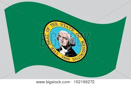 Washingtonian official flag symbol. American patriotic element. USA banner. United States of America background. Flag of the US state of Washington waving on gray background vector