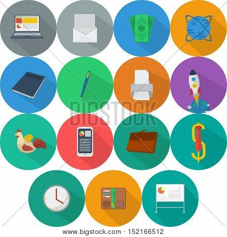 Business   Set of great flat icons with style long shadow icon and use for Business, Marketing and much more.