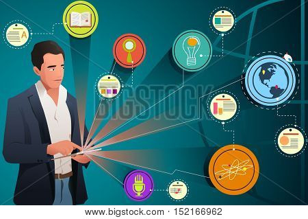 A vector illustration of Businessman Looking at Internet Technology
