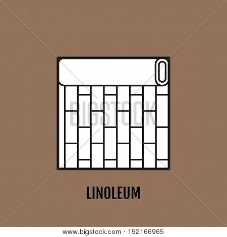 Flat icon of linoleum. Finishing materials and floor coverings. Vector illustration