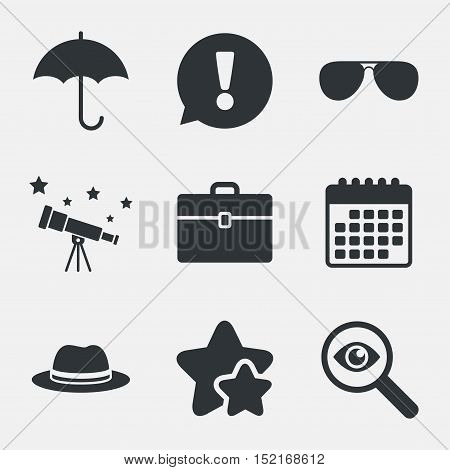 Clothing accessories icons. Umbrella and sunglasses signs. Headdress hat with business case symbols. Attention, investigate and stars icons. Telescope and calendar signs. Vector