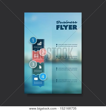 Business Flyer or Cover Design with Blurred Cityscape - Corporate Identity Design Template