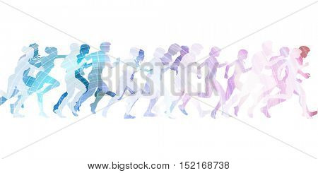 Athletes Running in a Group for a Race 3d Illustration Render