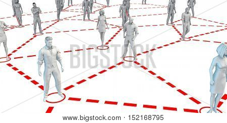 Large Group of People in Nodes Connected by Network Lines 3d Illustration Render
