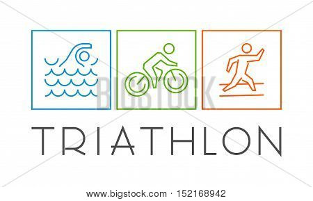 Line icons of triathletes. Vector triathlon logo.