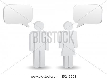 man and woman chat