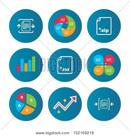 Business pie chart. Growth curve. Presentation buttons. Archive file icons. Compressed zipped document signs. Data compression symbols. Data analysis. Vector