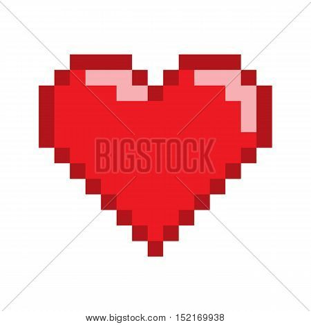 Vector pixel art heart for game and design.