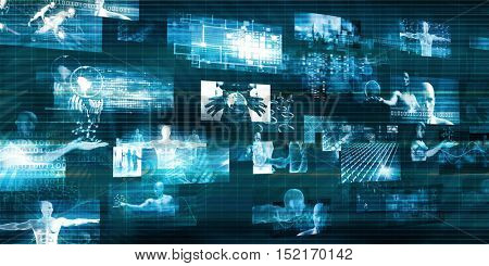 Modern Communication Technology Concept with Moving Data 3d Illustration Render