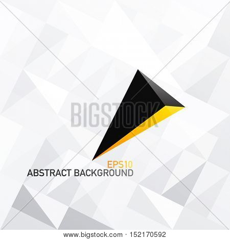 Triangle white abstract background with 3D arrow. Black and Gold Colors. Abstract background for cover designs