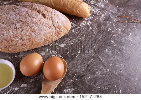 Wheat Bread Isolated On Wooden Background