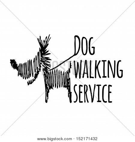 Dog walking service logotype on white background. Isolated scribble style logo template.