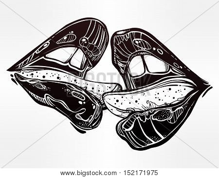 Sexy beautiful couple kissing. Erotic sensual lips. Isolated vector illustration.