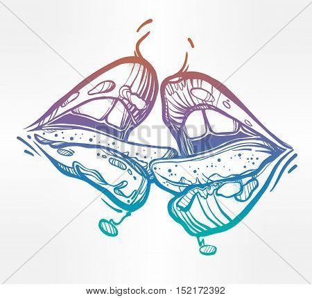 Sexy beautiful couple kissing. Erotic sensual lips. Isolated vector illustration.