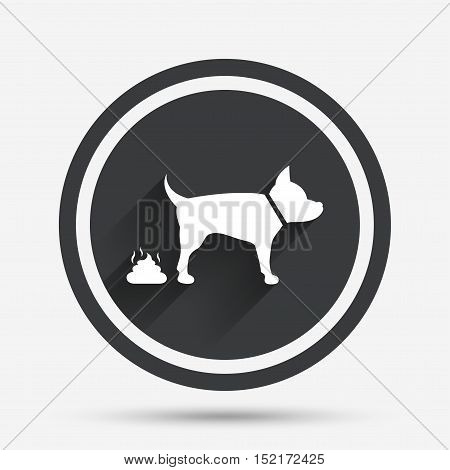 Feces sign icon. Clean up after pets symbol. Put it in the bag. Circle flat button with shadow and border. Vector