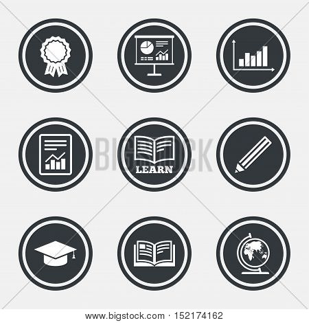 Education and study icon. Presentation signs. Report, analysis and award medal symbols. Circle flat buttons with icons and border. Vector