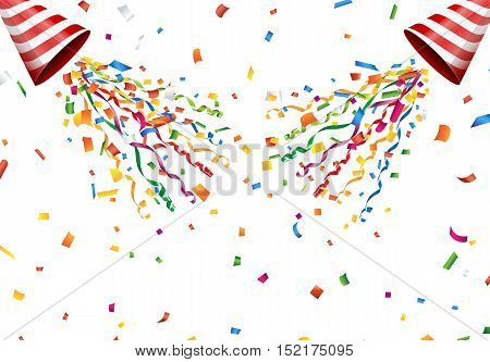 Exploding party popper with confetti and streamer on white background