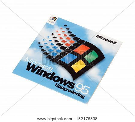 Stockholm ,Sweden - December 15, 2014: Microsoft Windows 95 operating system cover for the Swedish version isolated on white background.