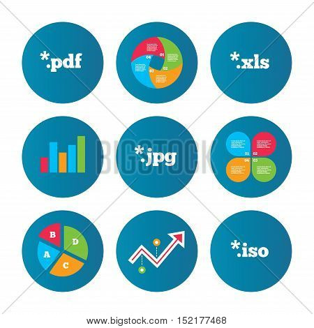 Business pie chart. Growth curve. Presentation buttons. Document icons. File extensions symbols. PDF, XLS, JPG and ISO virtual drive signs. Data analysis. Vector