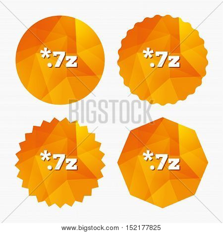 Archive file icon. Download compressed file button. 7z zipped file extension symbol. Triangular low poly buttons with flat icon. Vector
