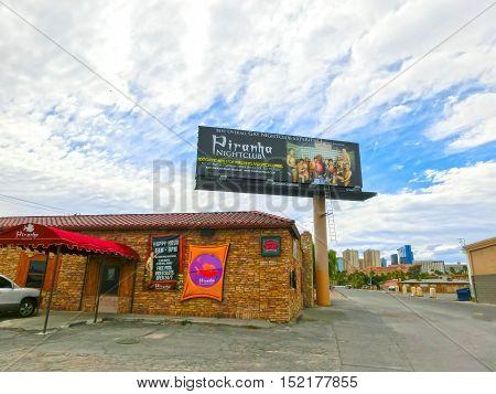Las Vegas, United States of America - May 05, 2016: The facade of Gay Nightclub Piranha at Las Vegas, United States of America
