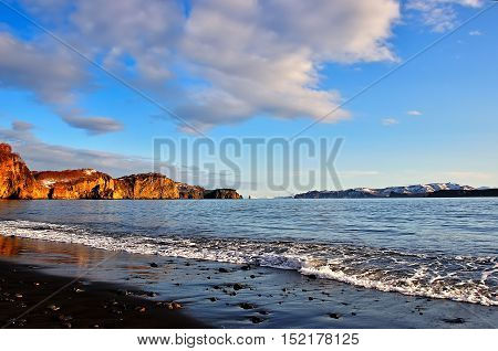 The bay and harbour in Russia with black water