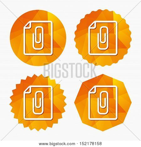 File annex icon. Paper clip symbol. Attach symbol. Triangular low poly buttons with flat icon. Vector