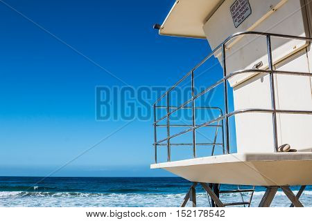 Lifeguard tower in Encinitas, California facing the Pacific Ocean