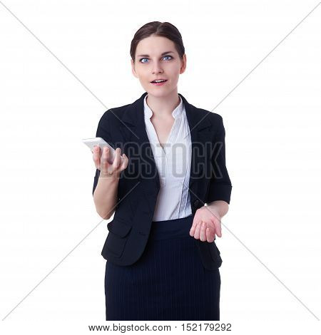 Smiling businesswoman standing over white isolated background with tablet smart phone, business, education, office, technology concept