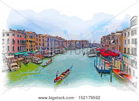 Venice - Grand Canal. The view from the Rialto Bridge. Color drawing