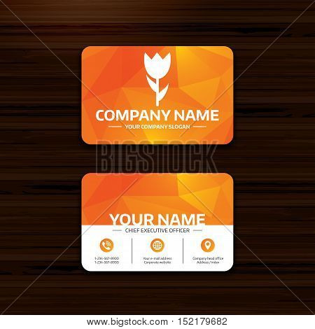 Business or visiting card template. Flower sign icon. Rose symbol. Macro. Phone, globe and pointer icons. Vector