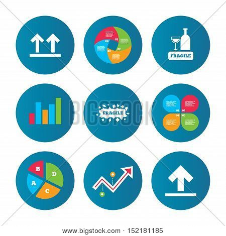 Business pie chart. Growth curve. Presentation buttons. Fragile icons. Delicate package delivery signs. This side up arrows symbol. Data analysis. Vector