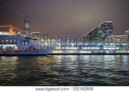 HONG KONG  - 26 JANUARY, 2016: view of Kowloon from a Star Ferry at night. Kowloon is an urban area in Hong Kong comprising the Kowloon Peninsula and New Kowloon.