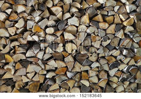 Chopped birch tree firewood in stack background.