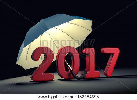 Red number 2017 under umbrella. New year mataphor. 3d illustration